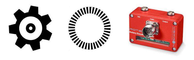 Informationsgrafik Zahnrad, Reflexionsziel und inkrementaler Drehgeber